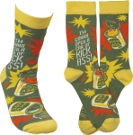 I'm Gonna Open A Can Of Kick Ass Colorfully Printed Cotton Socks from Primitives by Kathy
