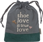 Shoe Love Is True Love Cotton & Canvas Drawstring Shoe Bag Tote from Primitives by Kathy