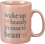 Wake Up Beauty It's Time To Beast Double Sided Stoneware Coffee Mug 20 Oz from Primitives by Kathy