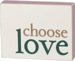 Metallic Accents Choose Love Decorative Wooden Block Sign 4.5 Inch x 3.5 Inch from Primitives by Kathy