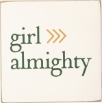 Girl Almighty Wooden Block Refrigerator Magnet from Primitives by Kathy