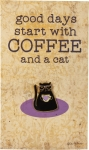 Black Cat Good Days Start With Coffee Enamel Pin With Card from Primitives by Kathy