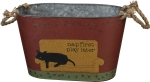 Dog Lover Nap First Play Later Decorative Metal Bin from Primitives by Kathy
