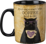 Cat Lover Good Days Start With Coffee And A Cat Double Sided Stoneware Coffee Mug 20 Oz from Primitives by Kathy
