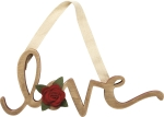 Felt Floral Accent Word Art Love Sentiment Hanging Wooden Sign 10 Inch from Primitives by Kathy