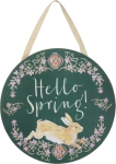 Hello Spring Wooden Hanging Wall Décor Sign from Primitives by Kathy