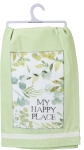 Watercolor Botanical My Happy Place Cotton Dish Towel 28x28 from Primitives by Kathy