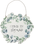 Botanical Wreath Design Come In Stay Awhile Decorative Wooden Hanging Sign 9 Inch from Primitives by Kathy