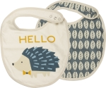 Hedgehog Design Cotton Baby Bib Set (Set of 2) from Primitives by Kathy