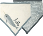 Narwhal Whale Bandana Style Cotton Baby Bib Set (Set of 2) from Primitives by Kathy