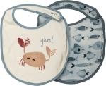 Crab & Fish Cotton Baby Bib Set (Set of 2) Studios from Primitives by Kathy