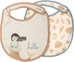 Mermaid Hello Cotton Baby Bib Set (Set of 2) 10x14 from Primitives by Kathy
