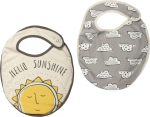 Hello Sunshine & Clouds Cotton Baby Bib Set (Set of 2) 10x14 from Primitives by Kathy