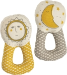 Sun And Moon Double Sided Cotton Baby Rattle from Primitives by Kathy