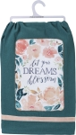 Floral Design Velvet Trim Let Your Dreams Blossom Cotton Dish Towel 28x28 from Primitives by Kathy