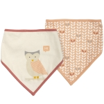 Owl Themed Bandana Style Cotton Baby Bib Set (Set of 2) from Primitives by Kathy