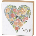 Floral Heart XOXO Decorative Wooden Block Sign from Primitives by Kathy