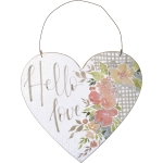 Heart Shaped Hello Love Wooden Hanging Wall Décor Sign 9x8.25 from Primitives by Kathy