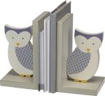 Owl Themed Neutral Gray & Blue Bookend Set from Primitives by Kathy