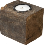 Distressed Wooden Tea Light Candle Holder Block from Primitives by Kathy