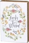Ladybug & Flower Design Lucky & Blessed Decorative Wooden Block Sign 4x6 from Primitives by Kathy
