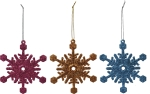 Set of 3 Large Glitter Snowflakes Christmas Ornaments (Pink Blue & Orange) 4 Inch from Primitives by Kathy