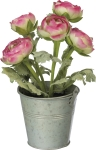 Small Metal Planter Bucket With Artificial Pink Ranunculus Botanicals from Primitives by Kathy