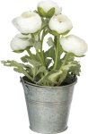 Small Metal Planter Bucket With Artificial White Ranunculus Botanicals from Primitives by Kathy