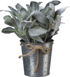 Small Metal Pot Planter With Artificial Lamb's Ear Botanicals from Primitives by Kathy