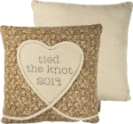 Tied The Knot 2019 Decorative Burlap Throw Pillow 16x16 from Primitives by Kathy