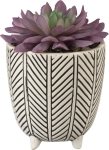 Replicated Herringbone Pattern Decorative Stoneware Planter from Primitives by Kathy