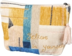 Believe In Yourself Zipper Pouch With Tassle Travel Bag from Primitives by Kathy