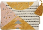 Memphis Pink & Gold Velvet & Cotton Zipper Pouch Travel Bag from Primitives by Kathy