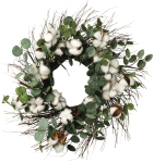 Cotton & Eucalyptus Wreath 24 Inch from Primitives by Kathy