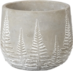 Textural Fern Design Decorative Cement Pot Planter 6.5 Inch from Primitives by Kathy