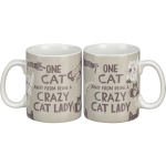 Wrap Around One Cat Away From Being A Crazy Cat Lady Stoneware Coffee Mug 20 Oz from Primitives by Kathy