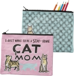 Stay At Home Cat Mom Colorful Zipper Pouch Travel Bag from Primitives by Kathy