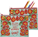 What A Wonderful World Zipper Pouch Travel Bag from Primitives by Kathy