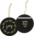 Joy With Love Double Sided Hanging Cotton Christmas Ornament 4.5 Inch from Primitives by Kathy