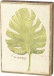 Botanical Leaf Live Simply Decorative Wooden Block Sign 5x7 from Primitives by Kathy