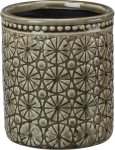 Textural Medallion Design Tall Gray Vase from Primitives by Kathy