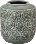 Round  Light Blue Medallion Design Stoneware Vase from Primitives by Kathy