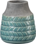 Chevron Design Short Turquoise Stoneware Vase from Primitives by Kathy