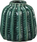 Emerald Short Teal Zig Zag Design Stoneware Vase from Primitives by Kathy