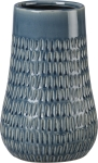 Textural Lined Design Tall Blue Stoneware Vase from Primitives by Kathy