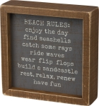 Beach Rules Have Fun Decorative Inset Wooden Box Sign 6x6 from Primitives by Kathy
