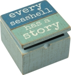 Every Seashell Has A Story Hinged Decorative Wooden Box from Primitives by Kathy