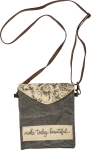 Floral Design Make Today Beautiful Canvas & Velvet Crossbody Handbag Purse from Primitives by Kathy