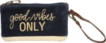 Good Vibes Only Velvet Wristlet Handbag With Zipper from Primitives by Kathy
