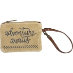 Adventure Awaits Small Velvet Wristlet Handbag With Leather Strap from Primitives by Kathy
